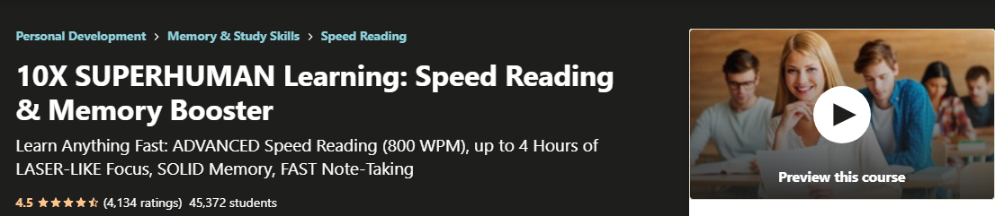 10x Superhuman Learning Speed Reading Course