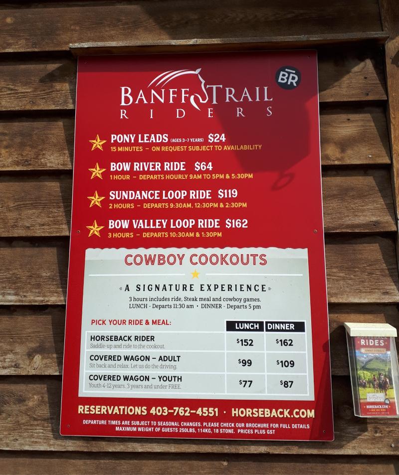 Banff Trail Riders Price Board (2019)
