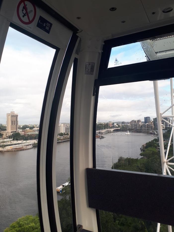 Inside a gondola on the Wheel of Brisbane.