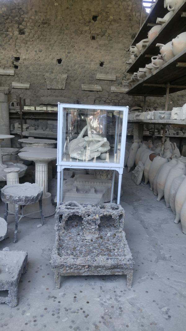 Plaster cast of dog in Pompeii