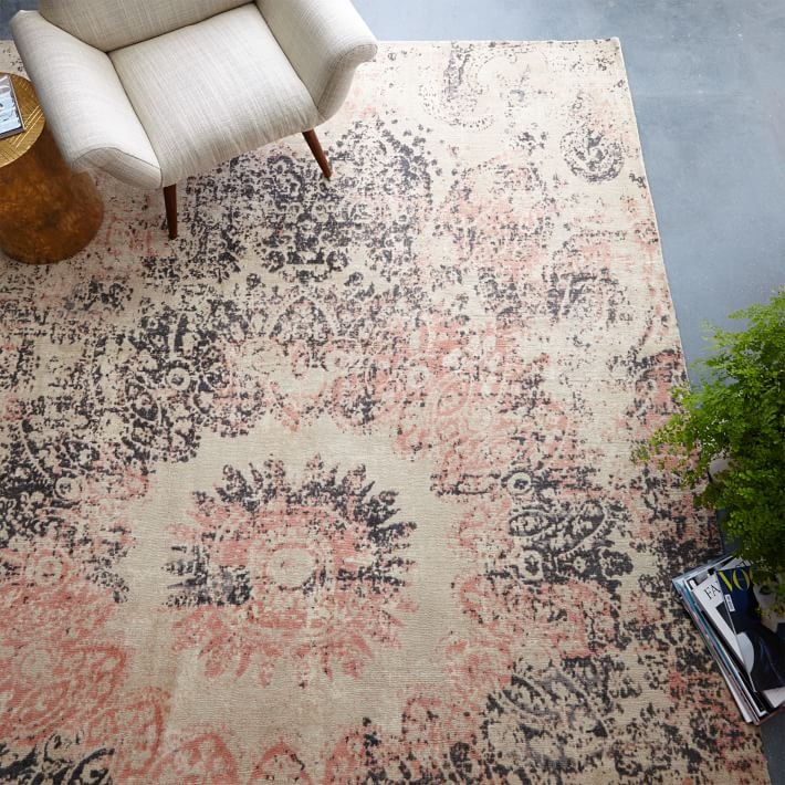 Distressed Ornament Wool Rug - Rosette : westelm.com