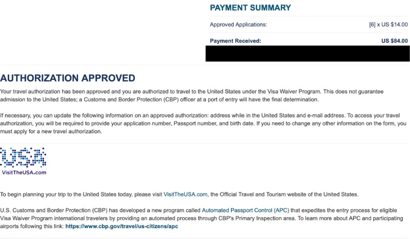 Our Approved ESTA application, 3 Hours Later - How Long Does it Take for ESTA Application Approval?