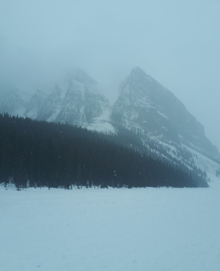 Lake Louise Frozen in Winter - Calgary to Jasper