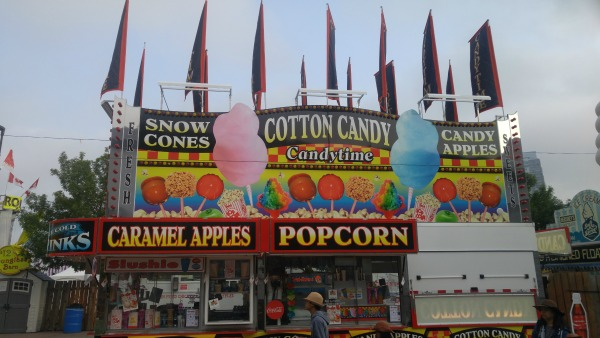 Popcorn truck and cotton candy Calgary Stampede