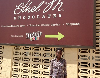 This a pix of me during my visit to Ethel M Chocolate Factory and M & M World.