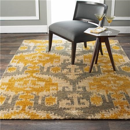 Gray and Gold Ikat Jute Brush Cut Rug : shadesoflight.com
