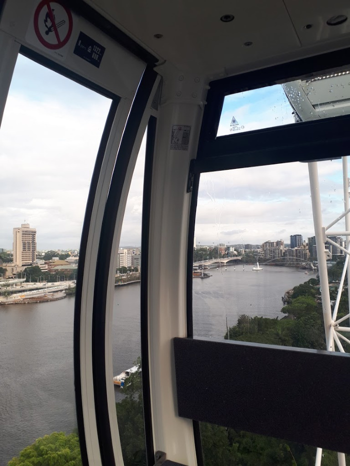 Inside a gondola on the Wheel of Brisbane.
