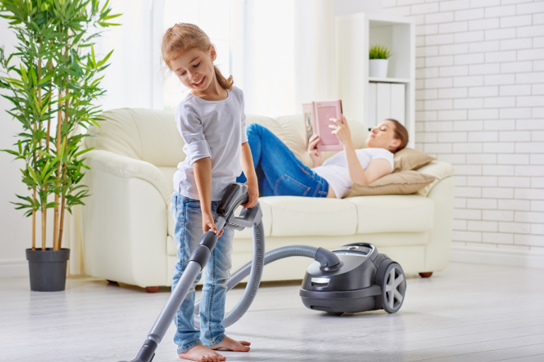 Expectancy Theory in Action: A child cleans, knowing that completing her chores is instrumental to being allowed to play outside.