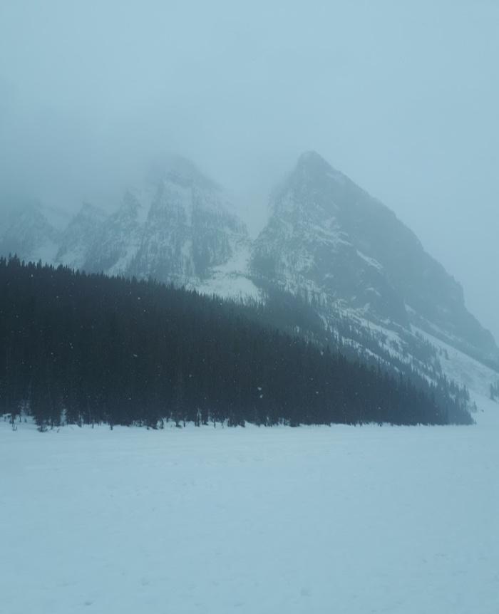 Lake Louise Frozen in Winter - Calgary to Jasper