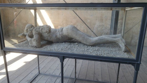 Plaster casing of the body of a pregnant woman in Pompeii